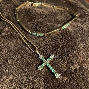Gold plated emerald cross necklace and bracelet